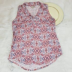 LOFT Top Geometric Pattern Sleeveless Stretch Spit